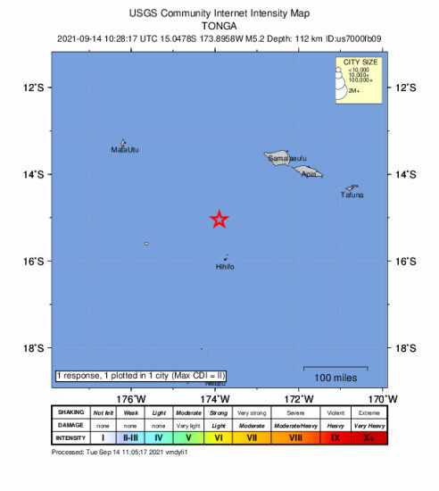 Community Internet Intensity Map for the Hihifo, Tonga 5.2m Earthquake, Tuesday Sep. 14 2021, 11:28:17 PM