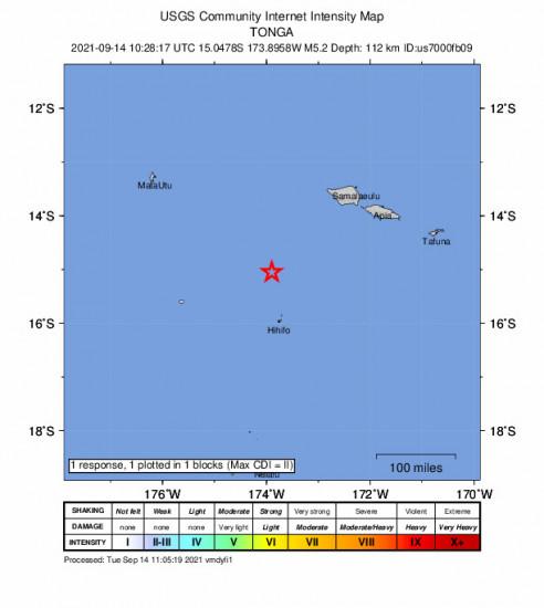 GEO Community Internet Intensity Map for the Hihifo, Tonga 5.2m Earthquake, Tuesday Sep. 14 2021, 11:28:17 PM