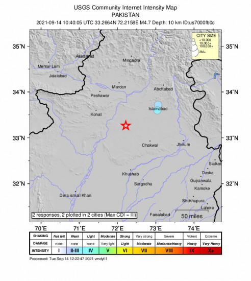 Community Internet Intensity Map for the Pindi Gheb, Pakistan 4.7m Earthquake, Tuesday Sep. 14 2021, 3:40:05 PM