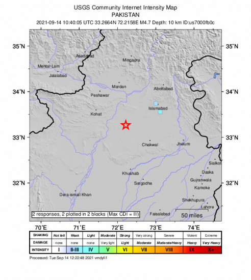 GEO Community Internet Intensity Map for the Pindi Gheb, Pakistan 4.7m Earthquake, Tuesday Sep. 14 2021, 3:40:05 PM