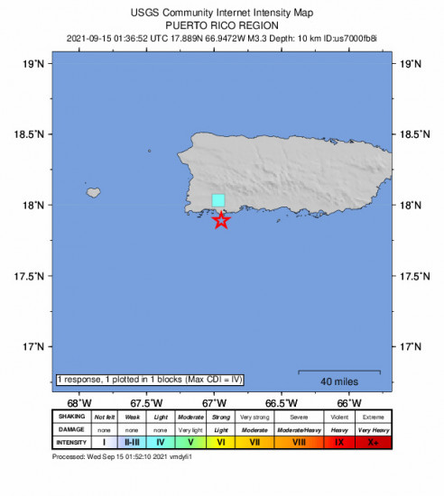 GEO Community Internet Intensity Map for the Guánica, Puerto Rico 3.3m Earthquake, Tuesday Sep. 14 2021, 9:36:52 PM