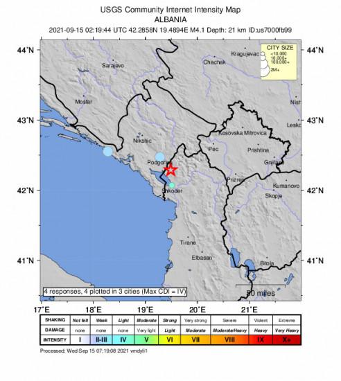 Community Internet Intensity Map for the Koplik, Albania 4.1m Earthquake, Wednesday Sep. 15 2021, 4:19:44 AM