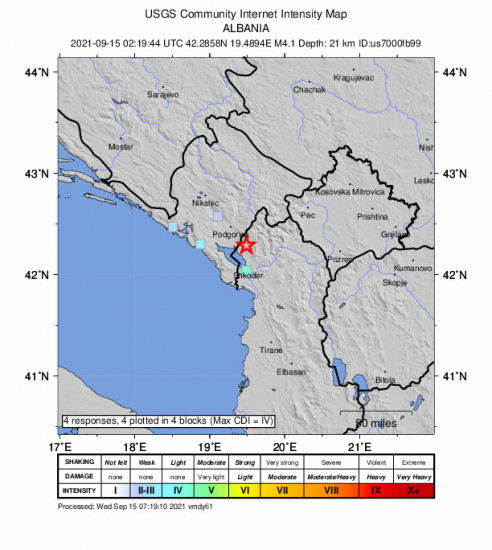 GEO Community Internet Intensity Map for the Koplik, Albania 4.1m Earthquake, Wednesday Sep. 15 2021, 4:19:44 AM
