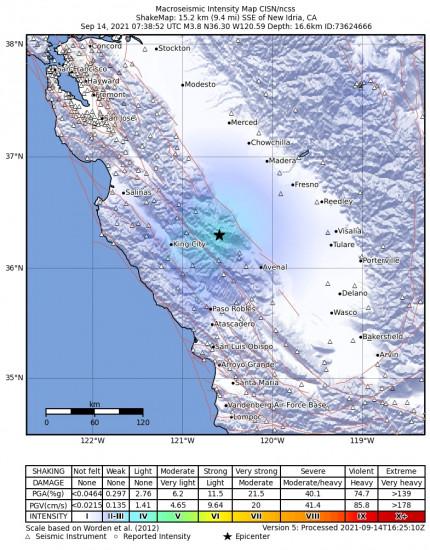 Macroseismic Intensity Map for the New Idria, Ca 3.79m Earthquake, Tuesday Sep. 14 2021, 12:38:52 AM