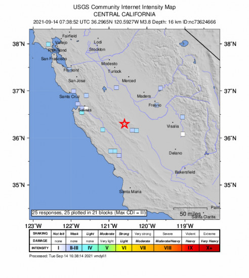 GEO Community Internet Intensity Map for the New Idria, Ca 3.79m Earthquake, Tuesday Sep. 14 2021, 12:38:52 AM
