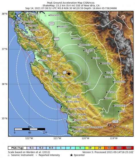 Peak Ground Acceleration Map for the New Idria, Ca 3.79m Earthquake, Tuesday Sep. 14 2021, 12:38:52 AM