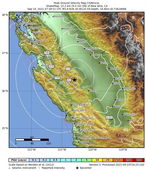 Peak Ground Velocity Map for the New Idria, Ca 3.79m Earthquake, Tuesday Sep. 14 2021, 12:38:52 AM