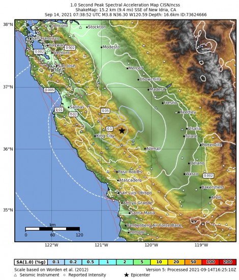 1 Second Peak Spectral Acceleration Map for the New Idria, Ca 3.79m Earthquake, Tuesday Sep. 14 2021, 12:38:52 AM