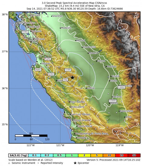 3 Second Peak Spectral Acceleration Map for the New Idria, Ca 3.79m Earthquake, Tuesday Sep. 14 2021, 12:38:52 AM