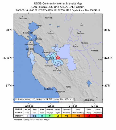 Community Internet Intensity Map for the Milpitas, Ca 2.93m Earthquake, Tuesday Sep. 14 2021, 11:45:27 AM