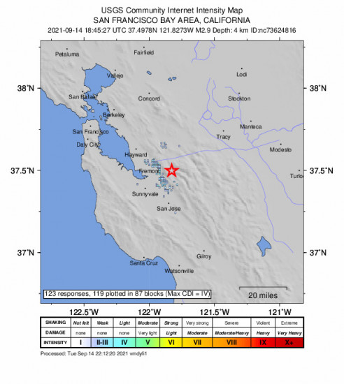 GEO Community Internet Intensity Map for the Milpitas, Ca 2.93m Earthquake, Tuesday Sep. 14 2021, 11:45:27 AM