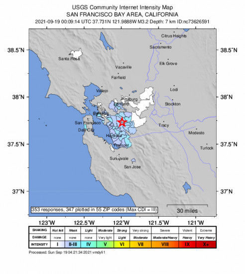Community Internet Intensity Map for the San Ramon, Ca 3.16m Earthquake, Saturday Sep. 18 2021, 5:09:14 PM