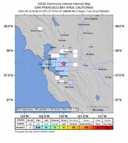 GEO Community Internet Intensity Map for the San Ramon, Ca 3.16m Earthquake, Saturday Sep. 18 2021, 5:09:14 PM
