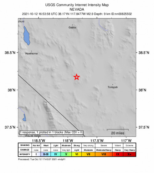 GEO Community Internet Intensity Map for the Mina, Nevada 2.9m Earthquake, Tuesday Oct. 12 2021, 9:53:58 AM
