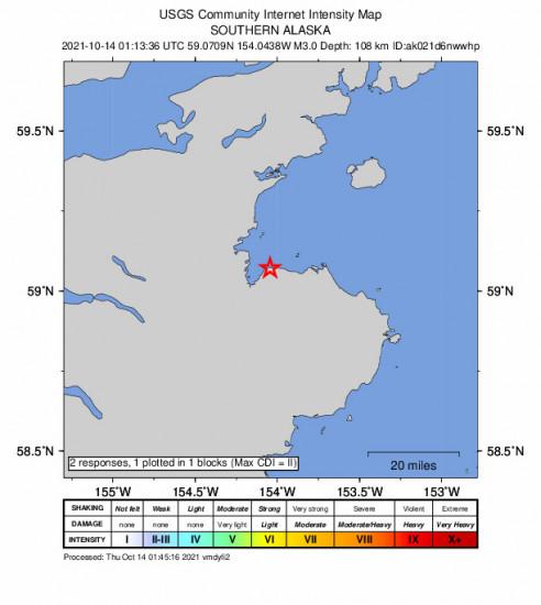 GEO Community Internet Intensity Map for the Kokhanok, Alaska 3m Earthquake, Wednesday Oct. 13 2021, 5:13:36 PM