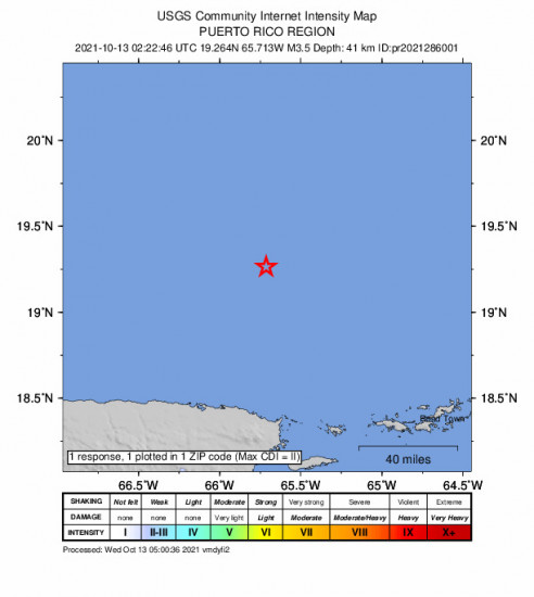 Community Internet Intensity Map for the Suárez, Puerto Rico 3.45m Earthquake, Tuesday Oct. 12 2021, 10:22:46 PM