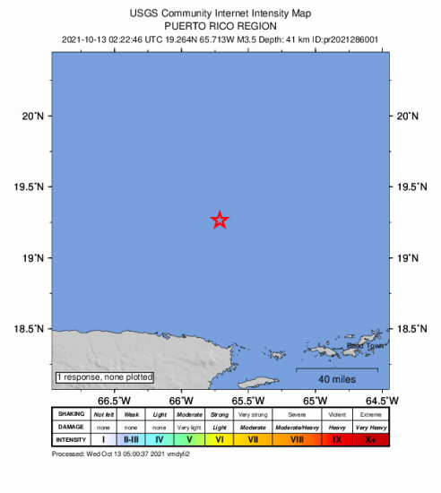 GEO Community Internet Intensity Map for the Suárez, Puerto Rico 3.45m Earthquake, Tuesday Oct. 12 2021, 10:22:46 PM