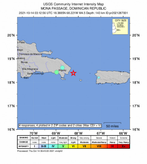 Community Internet Intensity Map for the Punta Cana, Dominican Republic 4.45m Earthquake, Wednesday Oct. 13 2021, 11:12:56 PM