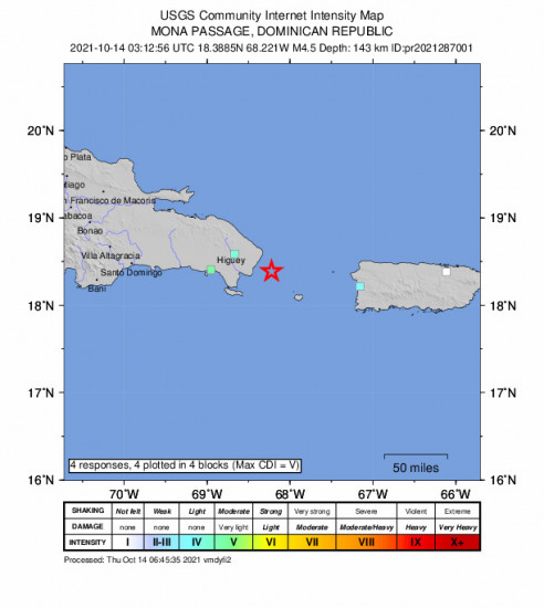 GEO Community Internet Intensity Map for the Punta Cana, Dominican Republic 4.45m Earthquake, Wednesday Oct. 13 2021, 11:12:56 PM