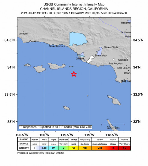 Community Internet Intensity Map for the Santa Cruz Is. (e End), Ca 3.25m Earthquake, Tuesday Oct. 12 2021, 12:50:15 PM