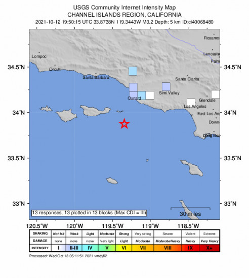 GEO Community Internet Intensity Map for the Santa Cruz Is. (e End), Ca 3.25m Earthquake, Tuesday Oct. 12 2021, 12:50:15 PM