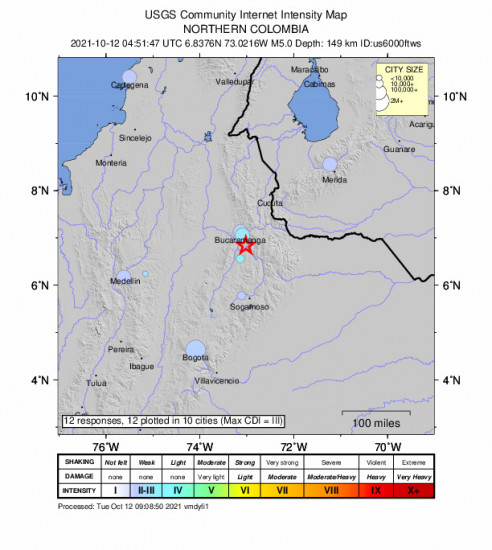 Community Internet Intensity Map for the Cepitá, Colombia 5m Earthquake, Monday Oct. 11 2021, 11:51:47 PM