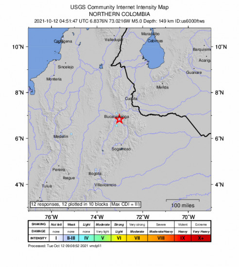 GEO Community Internet Intensity Map for the Cepitá, Colombia 5m Earthquake, Monday Oct. 11 2021, 11:51:47 PM