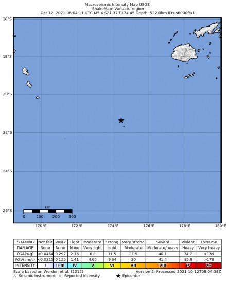 Macroseismic Intensity Map for the Vanuatu Region 5.4m Earthquake, Tuesday Oct. 12 2021, 5:04:10 PM