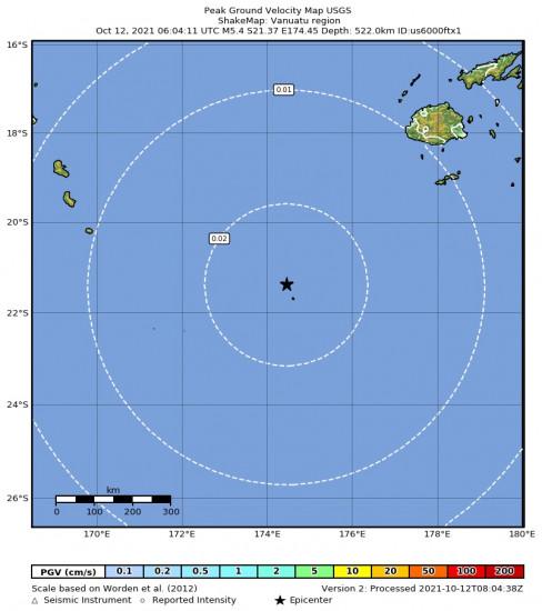 Peak Ground Velocity Map for the Vanuatu Region 5.4m Earthquake, Tuesday Oct. 12 2021, 5:04:10 PM
