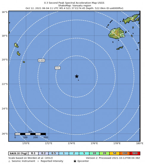0.3 Second Peak Spectral Acceleration Map for the Vanuatu Region 5.4m Earthquake, Tuesday Oct. 12 2021, 5:04:10 PM