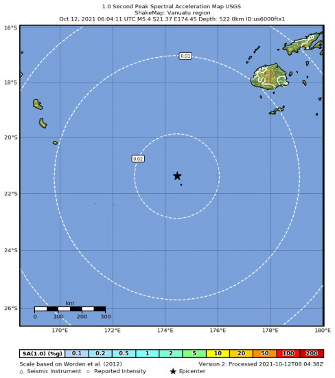 1 Second Peak Spectral Acceleration Map for the Vanuatu Region 5.4m Earthquake, Tuesday Oct. 12 2021, 5:04:10 PM