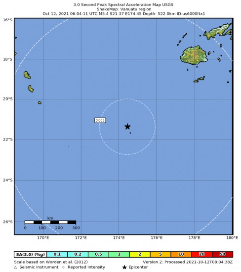 3 Second Peak Spectral Acceleration Map for the Vanuatu Region 5.4m Earthquake, Tuesday Oct. 12 2021, 5:04:10 PM