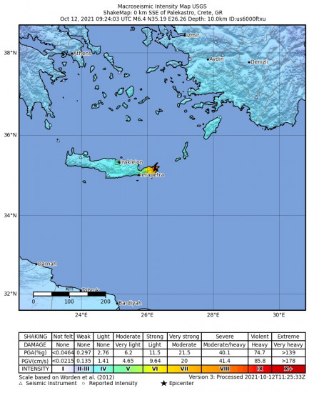 Macroseismic Intensity Map for the Palekastro, Greece 6.4m Earthquake, Tuesday Oct. 12 2021, 12:24:03 PM