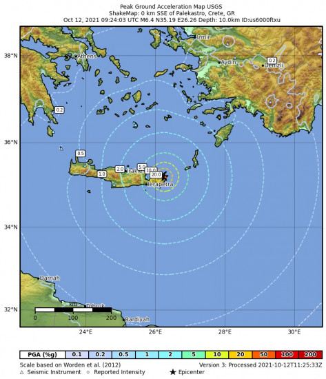 Peak Ground Acceleration Map for the Palekastro, Greece 6.4m Earthquake, Tuesday Oct. 12 2021, 12:24:03 PM
