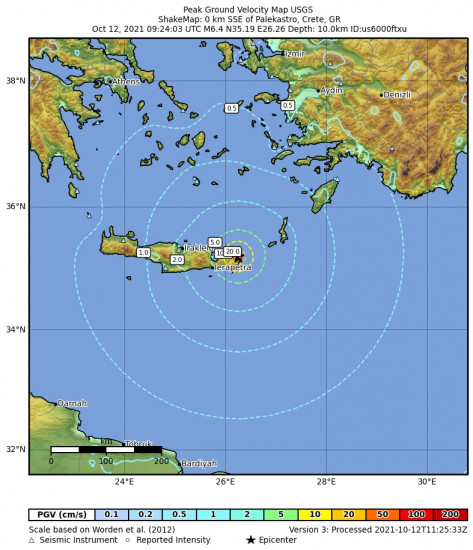 Peak Ground Velocity Map for the Palekastro, Greece 6.4m Earthquake, Tuesday Oct. 12 2021, 12:24:03 PM