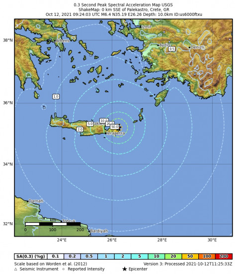 0.3 Second Peak Spectral Acceleration Map for the Palekastro, Greece 6.4m Earthquake, Tuesday Oct. 12 2021, 12:24:03 PM