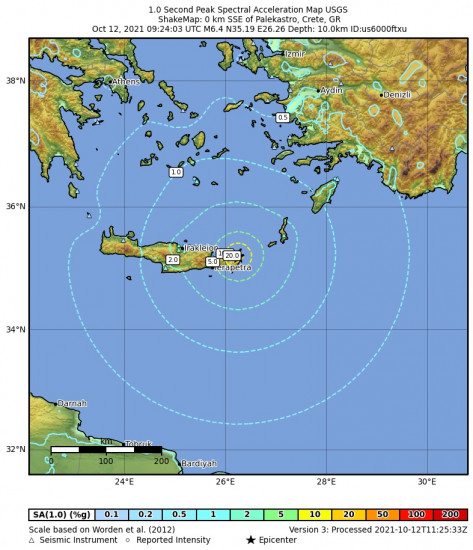 1 Second Peak Spectral Acceleration Map for the Palekastro, Greece 6.4m Earthquake, Tuesday Oct. 12 2021, 12:24:03 PM