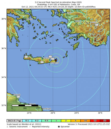 3 Second Peak Spectral Acceleration Map for the Palekastro, Greece 6.4m Earthquake, Tuesday Oct. 12 2021, 12:24:03 PM