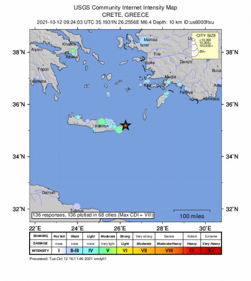 Community Internet Intensity Map for the Palekastro, Greece 6.4m Earthquake, Tuesday Oct. 12 2021, 12:24:03 PM