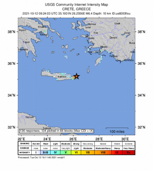 GEO Community Internet Intensity Map for the Palekastro, Greece 6.4m Earthquake, Tuesday Oct. 12 2021, 12:24:03 PM