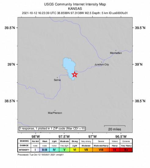 Community Internet Intensity Map for the Solomon, Kansas 2.5m Earthquake, Tuesday Oct. 12 2021, 11:23:39 AM