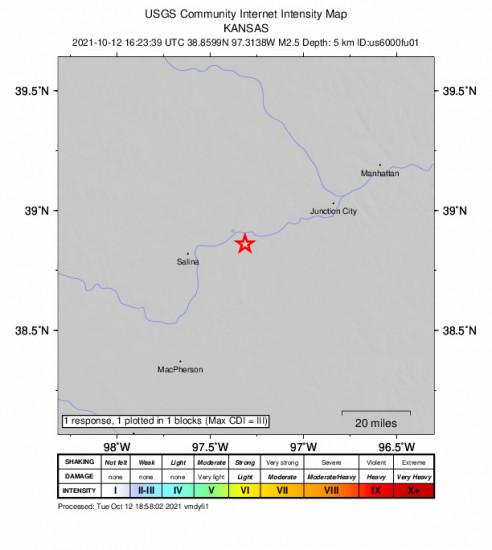 GEO Community Internet Intensity Map for the Solomon, Kansas 2.5m Earthquake, Tuesday Oct. 12 2021, 11:23:39 AM