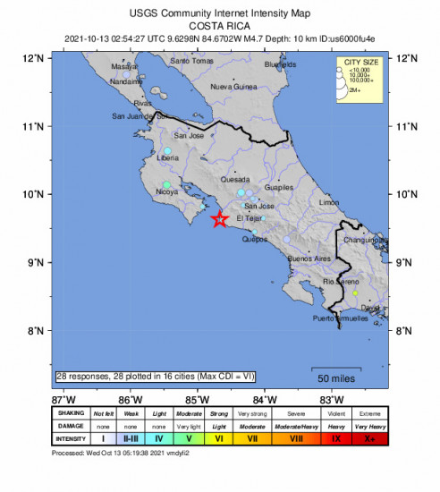 Community Internet Intensity Map for the Jacó, Costa Rica 4.7m Earthquake, Tuesday Oct. 12 2021, 8:54:27 PM