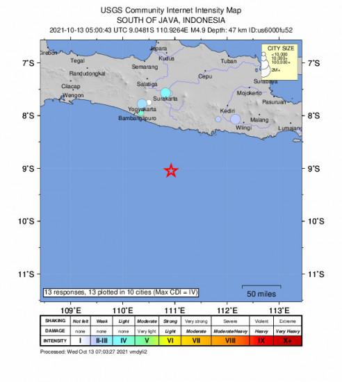 Community Internet Intensity Map for the Jatiroto, Indonesia 4.9m Earthquake, Wednesday Oct. 13 2021, 12:00:43 PM