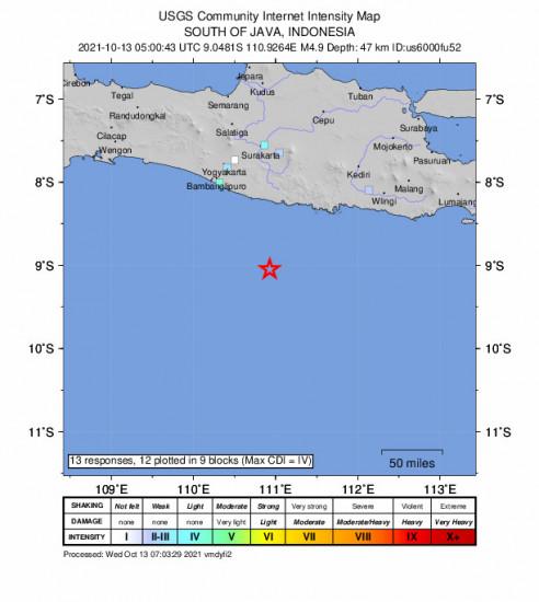 GEO Community Internet Intensity Map for the Jatiroto, Indonesia 4.9m Earthquake, Wednesday Oct. 13 2021, 12:00:43 PM