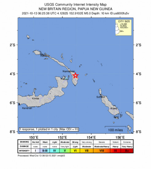 Community Internet Intensity Map for the Kokopo, Papua New Guinea 5m Earthquake, Wednesday Oct. 13 2021, 4:25:38 PM