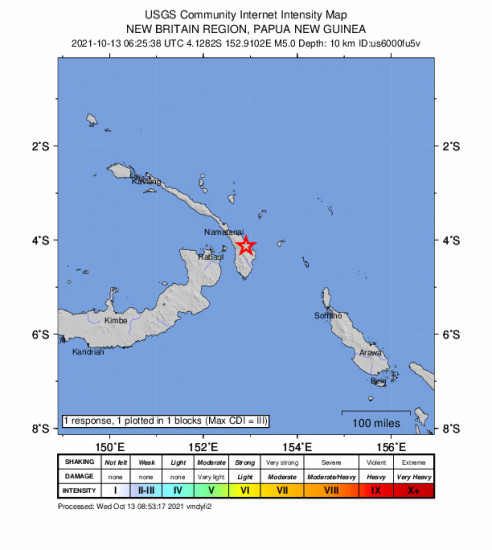 GEO Community Internet Intensity Map for the Kokopo, Papua New Guinea 5m Earthquake, Wednesday Oct. 13 2021, 4:25:38 PM
