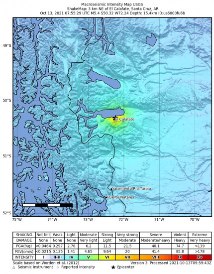 Macroseismic Intensity Map for the El Calafate, Argentina 5.4m Earthquake, Wednesday Oct. 13 2021, 4:55:29 AM