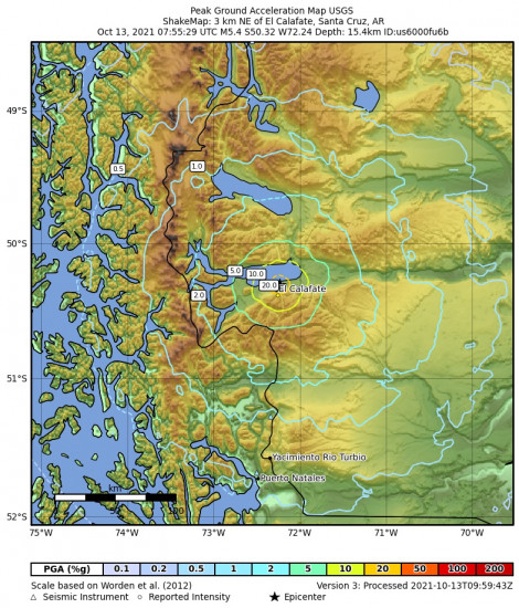Peak Ground Acceleration Map for the El Calafate, Argentina 5.4m Earthquake, Wednesday Oct. 13 2021, 4:55:29 AM