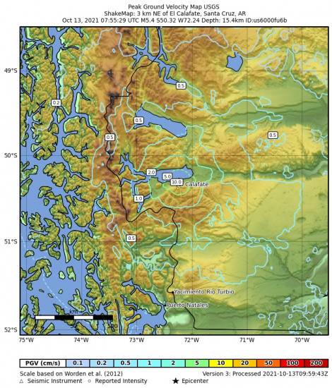Peak Ground Velocity Map for the El Calafate, Argentina 5.4m Earthquake, Wednesday Oct. 13 2021, 4:55:29 AM
